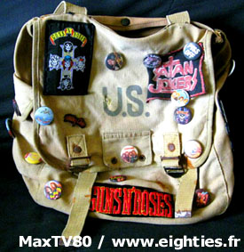 sac us années 80 badges patch cartable guns n roses acdc