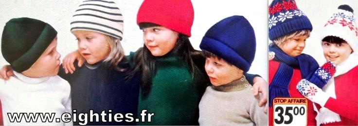 Annees 70 bonnets enfants des annees 80