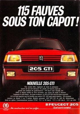 205 peugeot gti années 80
