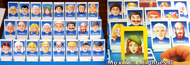 Annees 70 eighties jeu qui est ce MB Personnages cartes annees 80 3