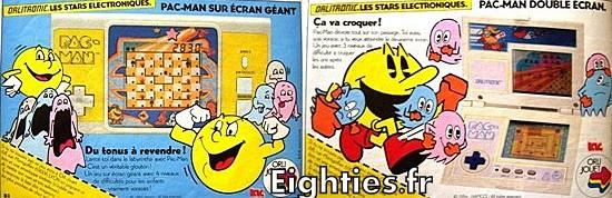 Publicité jeux électroniques pacman années 80