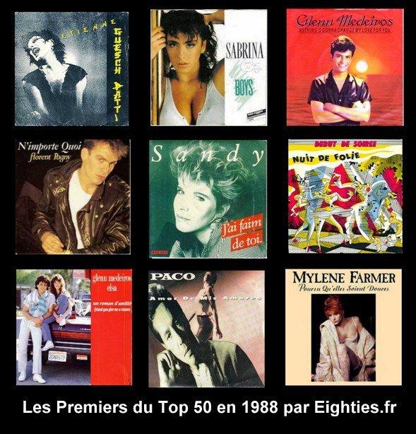 ANNEES 80, 80's eighties, Top, 50, Top50, Marc, toesca, canal+, 1988, Hit parade, musique, Mylène Farmer, sabrina, glenn medeiros, elsa, souvenirs