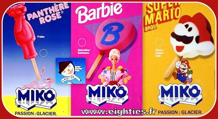 Glaces Barbie Mario et Panthère rose Miko des années 80