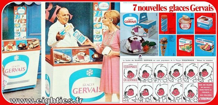 Publicité glaces Gervais années 60 vintage
