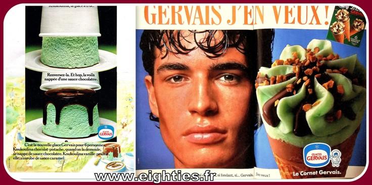 Koukoulina pot de glace et pub cones Gervais années 80