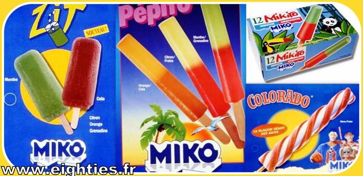 Glaces Miko glaçons à l'eau des années 80