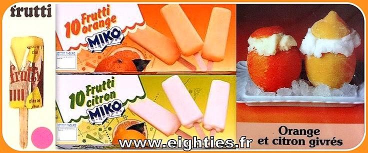 Glaces à l'eau de Miko Oranges givrées frutti années 70