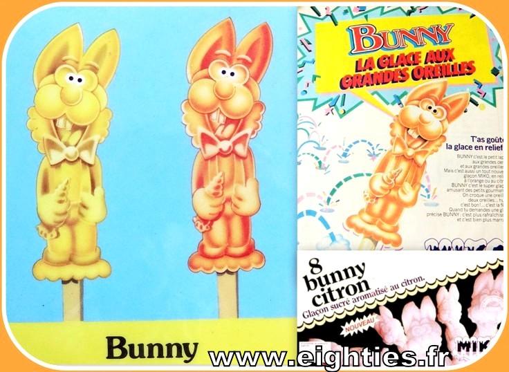 Glace à l'eau Bunny de Miko glaçon lapin en relief années 80