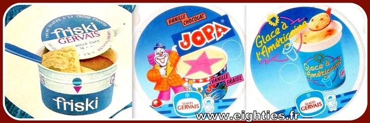 Petits pots de glaces Gervais cantine des années 80
