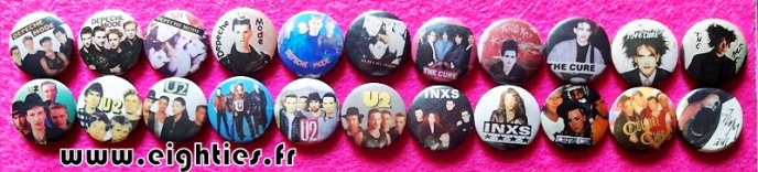 Badges Cure U2 Depeche mode des annees 80 buttons eighties