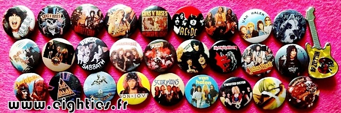Badges de HARD ROCK des annees 80 buttons eighties