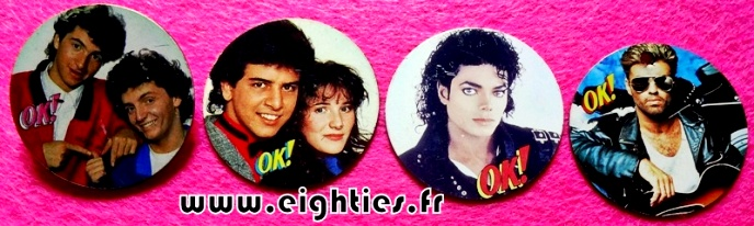 Badges de OK magazine George Michael Jackson des annees 80 buttons eighties