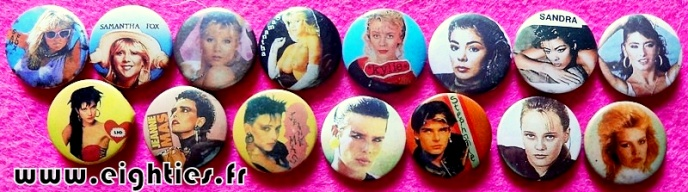 Badges de Sandra Samantha Fox des annees 80 buttons eighties