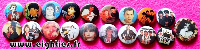 Badges musique FRANCE des annees 80 buttons eighties