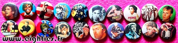 Badges musique music des annees 80 buttons eighties