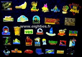 ANNEES 80, 80's, eighties, badges, pin's, buttons, epinglettes, smiley, acid, top 50, madonna, chanteurs, aha, nostalgie, souvenirs, musique, mode, trentenaires