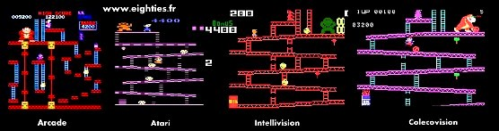 Frise comparatif Donkey Kong consoles Arcade Atari Intellivision Colecovision