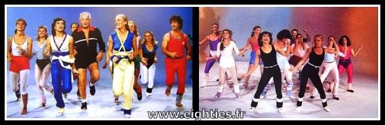 Véronique et davina cours de gym tonic à la télé des années 80