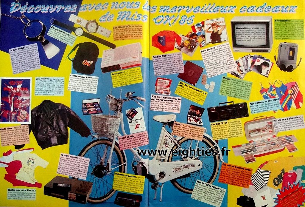 cadeaux gagnante Election Miss OK magazine années 80