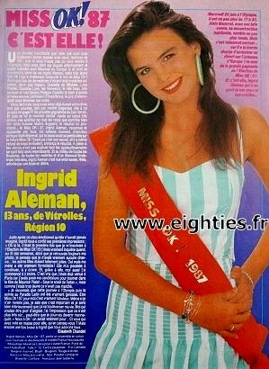 gagnantes Election Miss OK magazine années 80 Ingrid Aleman