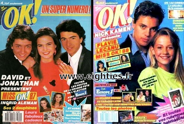 gagnantes Election Miss OK magazine années 80 Ingrid Aleman Flavie Lecanu Flament