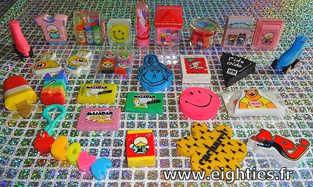 Années 80, 80's, eighties, Collection, Gommes fantaisie, gommes 80, Sanrio, Hello Kitty, souvenirs, enfance, nostalgie, papeterie, gommes, marques, smiley