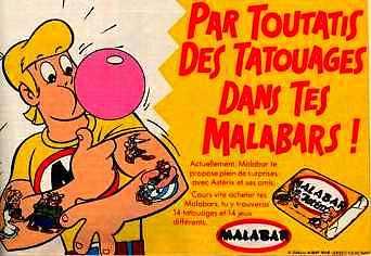 Années 80, 80's, eighties, Tatouages Malabar, Vignettes Malabar, Tatoo, astérix, obélix, drogue, lsd, collection, chewin-gum, nostalgie, enfance, souvenirs, série détective, spacebulle, monstres de l'espace,
