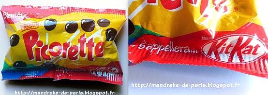bonbons picorette de Nestlé années 80 boules chocolat kit kat ball