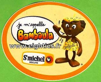 Logo autocollant biscuits Bamboula années 80
