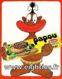 Autocollant biscuits papou galettes chocolat années 70
