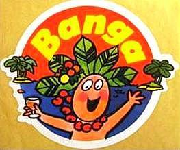 autocollant publicité Banga boisson jus de fruit des années 80