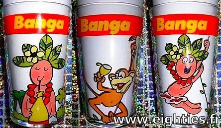 verres à moutarde publicité Banga boisson jus de fruit des années 80