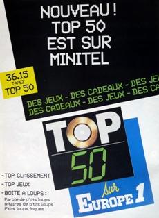 Publicité papier Top 50 Europe 1 années 80