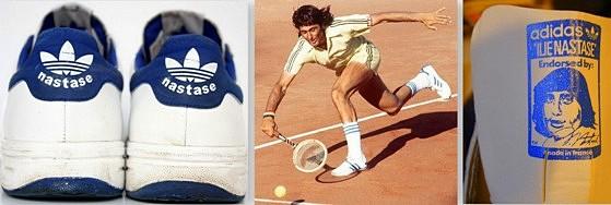 Bannière Ilie Nastase tennis Adidas années 80