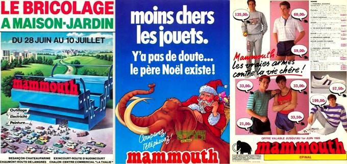 Publicités supermarché Mammouth prospectus hypermarché des années 80