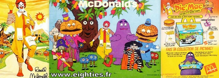 Ronald Mc Donald menu pic'mac années 80 fast-food