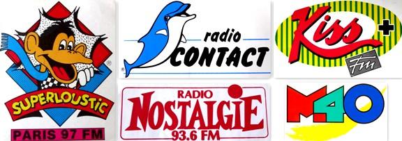 Autocollants Radio libres années 80 Superloustic Radio Contact Kiss FM Nostalgie M40