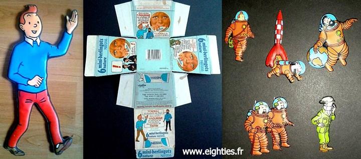 lait concentré sucré mini berlingots de Nestlé Tintin et Milou années 70
