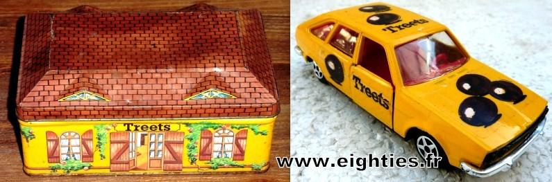 TREETS_chocolat_des_années_70_80_mm's_produits_derivés_boite et voiture Norev