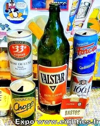 Exposition Eighties bières des années 80 Valstar cigarettes Bastos