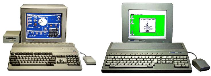 Ordinateurs Atari ST Amiga 500 années 80 90